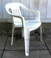- = 1 PLASTIC Stacking Lawn Chair (White)' = -