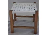 Vintage square wooden rattan/seagrass stool in great condition.