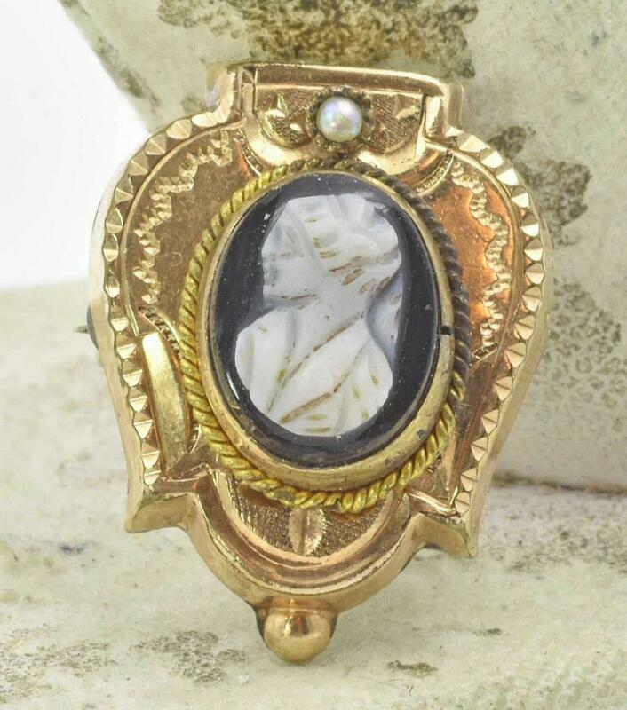 Antique Gold Plate or filled Carved hard Stone Cameo Ladies small Pin brooch 30s