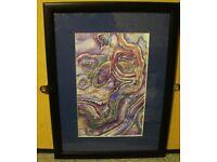 Original Painting 'Purple Stone' Watercolour and Pencil Crayon