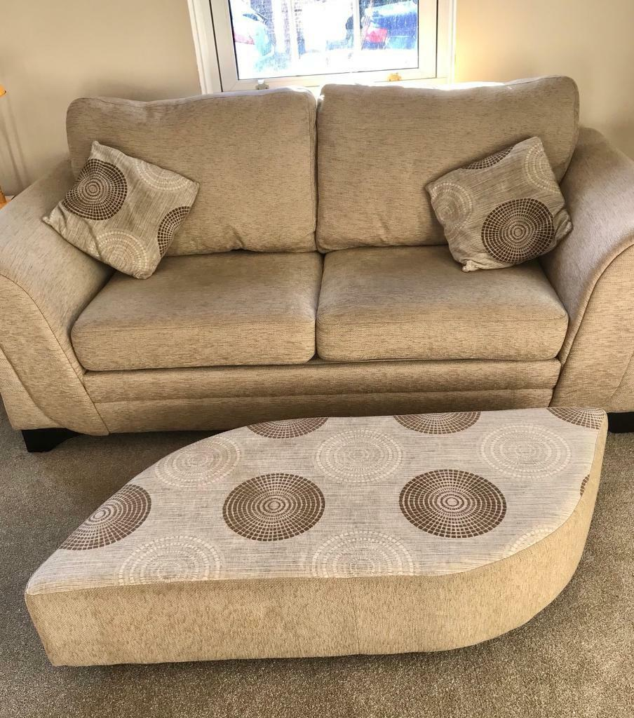 DFS Beige 2 Seater Sofa Bed With Foot Stool