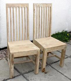 TWO TALL DINING / BEDROOM / OCCASIONAL CHAIRS - Shabby Chic Style - Heavy