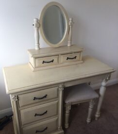 Shabby chic dressing table and matching cabinet
