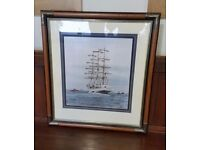 antique oak and brass frame, picture of a boat within
