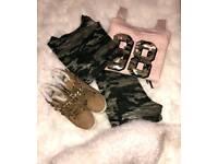 Camo Long Sleeve top/pants/blush sweat/boots