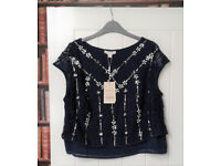 BNWT navy Monsoon top...size 16. lined-sequins and jewels sown in. 108 Euro RRP.