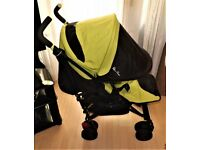 SILVER CROSS POP 2 PRAM / PUSHCHAIR ,WITH EXTENDING HOOD ,UNIVERSAL RAINCOVER ,GWO CLEAN