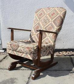 OLD WOODEN SPRUNG ROCKING CHAIR - Refurbishment project