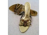 SPOT ON GOLD DESIGNER STRAPPY SANDALS KITTEN HEEL Metallic Amber Brown Beaded Shoes Size 8 PROM