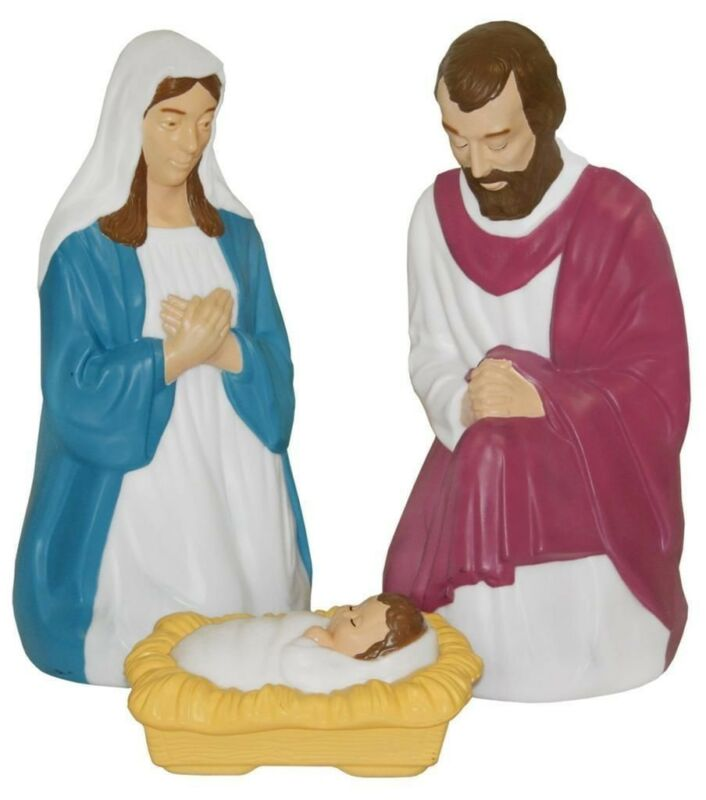 **NEW** 3 PC Nativity Set Lighted Christmas Blow Mold Mary Joseph Jesus