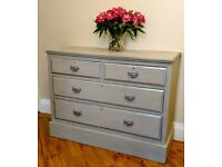 Chest of drawers - solid mahogany -Grey/Silver Shabby chic - Laura Ashley/Annie Sloan products