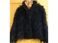 Ladies ' Copper Nob' Shaggy pile navy blue jacket