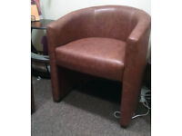 Used reception office brown / beige tube sofa and chair set! Great condition!