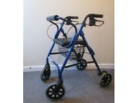 4 wheel rollator walking aid zimmer seat backrest lightweight adjustable height FREE DELIVERY