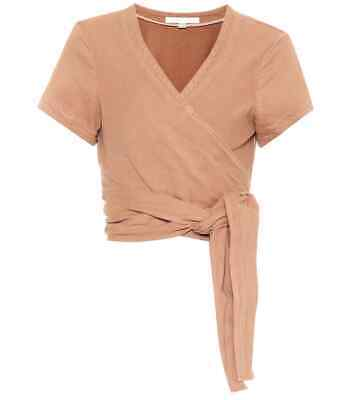 "WOW! New Tags Jonathan Simkhai ""Bronze"" cotton twill crop wrap top S $395"