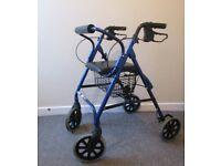 4 wheel rollator walking aid zimmer seat backrest lightweight adjustable height FREE DELIVERY
