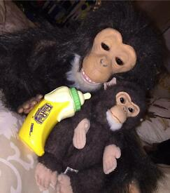 Furreal interactive monkey & baby chimp RARE in perfect condition