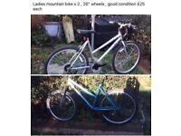 Ladies mountain bikes x 2