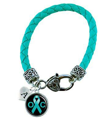 Custom Ovarian Cancer Awareness Teal Ribbon Leather Bracelet Jewelry Initial
