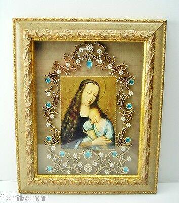 Volkskunst Filigrane Klosterarbeit  Madonna mit Kind ca. 33,5 x 28 cm