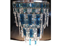 Matching Blue & Silver Chandalier Ceiling Light and Table Lamp