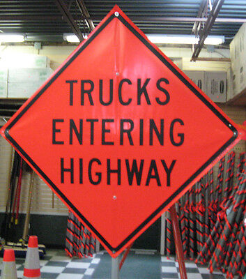 Highway Construction Signs -  Trucks Entering Highway Sign Fluorescent Vinyl With Ribs 48