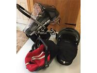 Quinny Buzz travel system pushchair pebble car seat, carry cot. Rain cover, travel bag, spare wheels