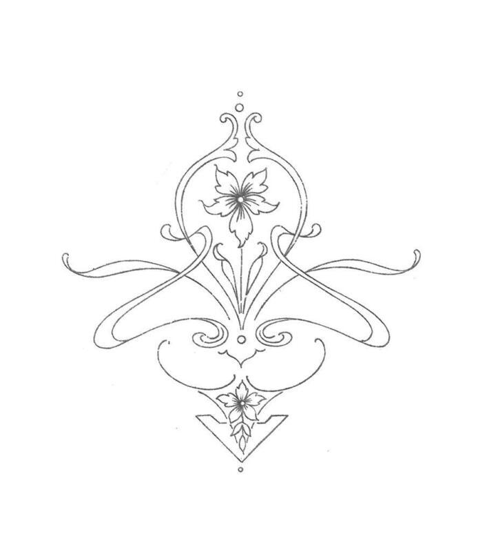 Art Deco Art Nouveau 1920s Iron on Embroidery Transfer repo 6 Geometric designs