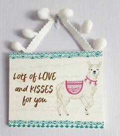 LOVE AND KISSES LLAMA WALL HANGING