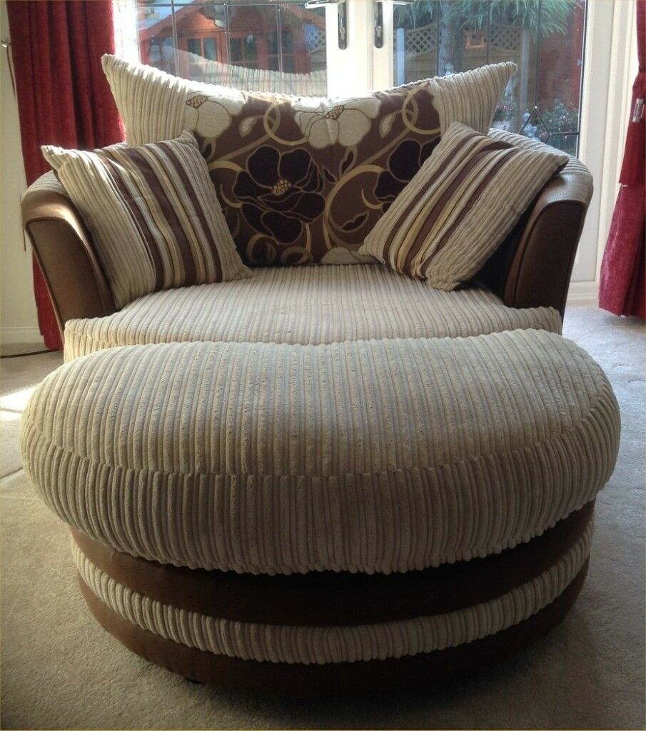 Large Round Swivel Chair Complete With Foot Stool Cushions In Mint Condition In Stone Staffordshire Gumtree