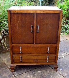 Vintage 1920's - 1930's Oak Tall Boy Cabinet