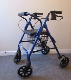 4 wheel rollator walking aid zimmer seat back rest lightweight adjustable height FREE DELIVERY