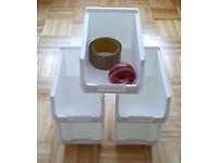 165 x Plastic Storage Bins White TC3 - Boxes Warehouse Linbins Parts Tools - For Louvre Panels