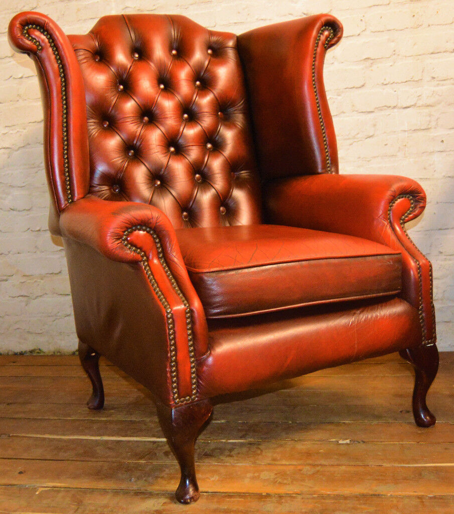Chesterfield oxblood red Queen Anne wingback armchair vintage chairs  leather antique seating lounge - Chesterfield Oxblood Red Queen Anne Wingback Armchair Vintage Chairs