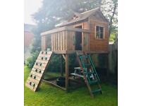 Solid wooden tower play house & climbing frame
