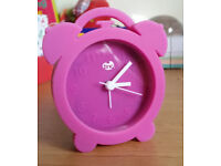 "Tinc Pink Silicone clock with alarm 4.5"" tall"