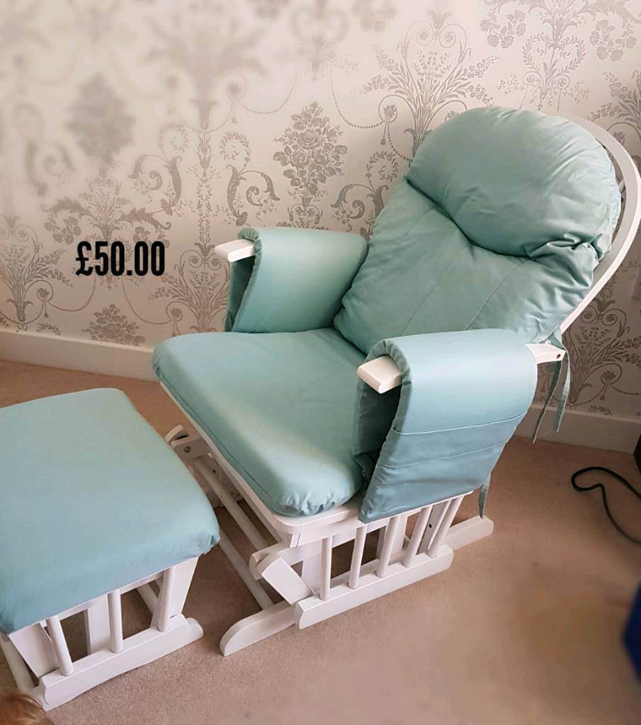Nursery Chair And Glider In Teal