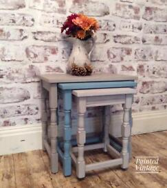 Cute set of nested tables hand painted shabby chic