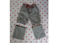 Early Days khaki with red detail combat trousers convertible into shorts. 18-23 mths, 86 cms. £1.50.
