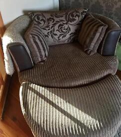 Brown DFS tub chair