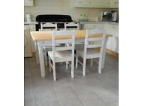 CHUNKY FARMHOUSE DINING TABLE AND 4 CHAIRS