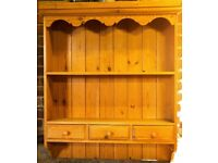 Welsh Dresser and Corner Unit matching in pine 82 cm wide 95 cm tall 18cm depth. Great condition.