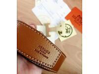 Hermes Belt Tan & Black Reversible with Brushed Gold Buckle RRP£575