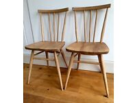 Ercol Blonde vintage original stick / spindle back chairs x2
