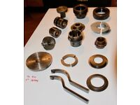 Woodturning chuck and fittings for 1inch by 13TPI lathe mount