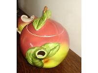 Retro china Tea set (3 pieces plus spoon) in the shape of apples. Very attractive.