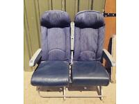 Reclaimed reclining Passenger aircraft aeroplane seats with adjustable middle arm rest.