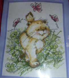 Anchor Solo The Cat Butterfly Clover Cross Stitch Kit, Ref: STC100