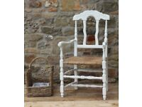 French Provincial Oak Painted Chair With Rattan Weave Seat
