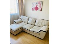 DFS leather 3 seater left hand corner sofa